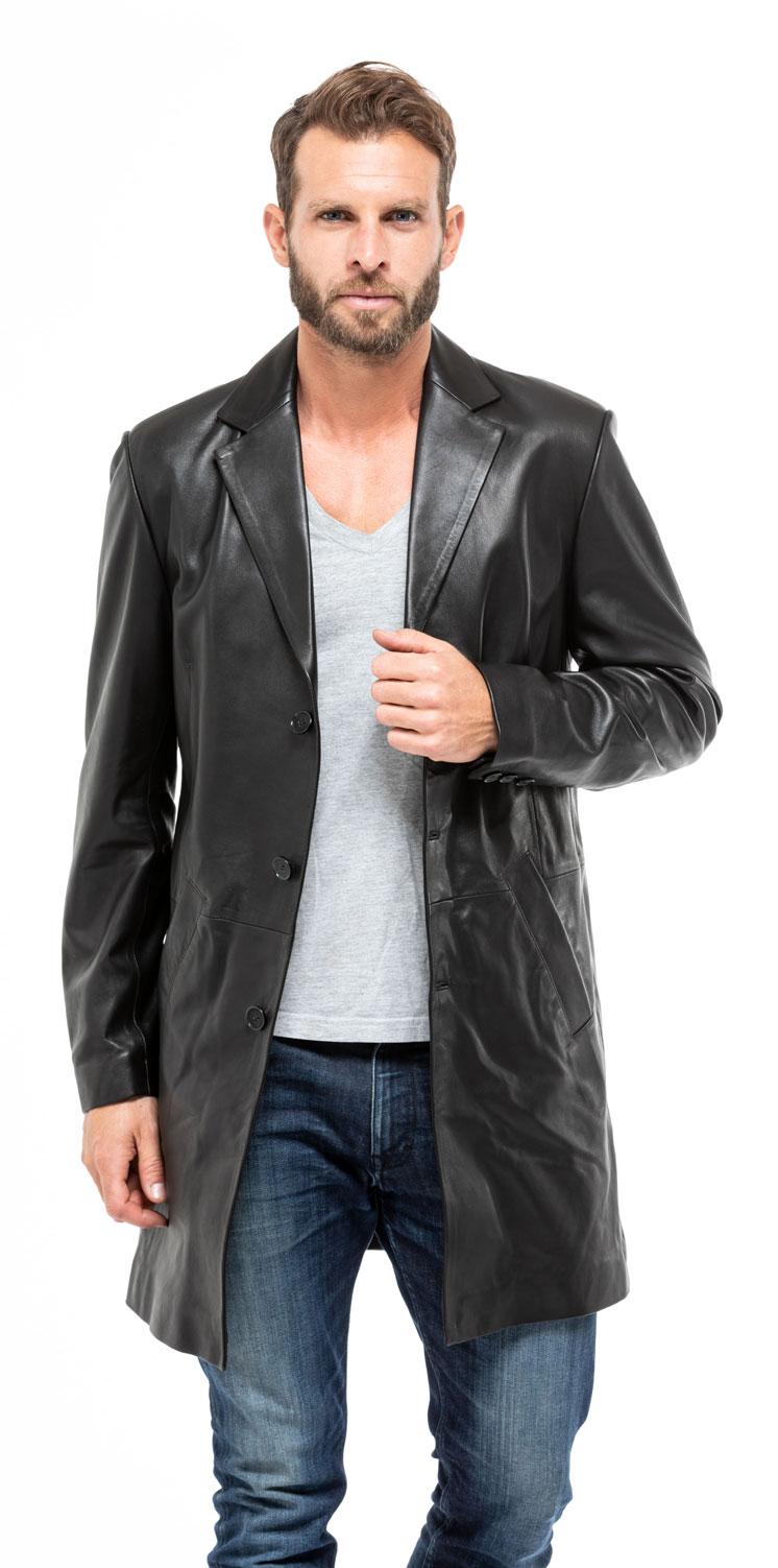21049bb7a0d3 Veste blazer longue 2160 agneau noir manteau classique mannequin (8)