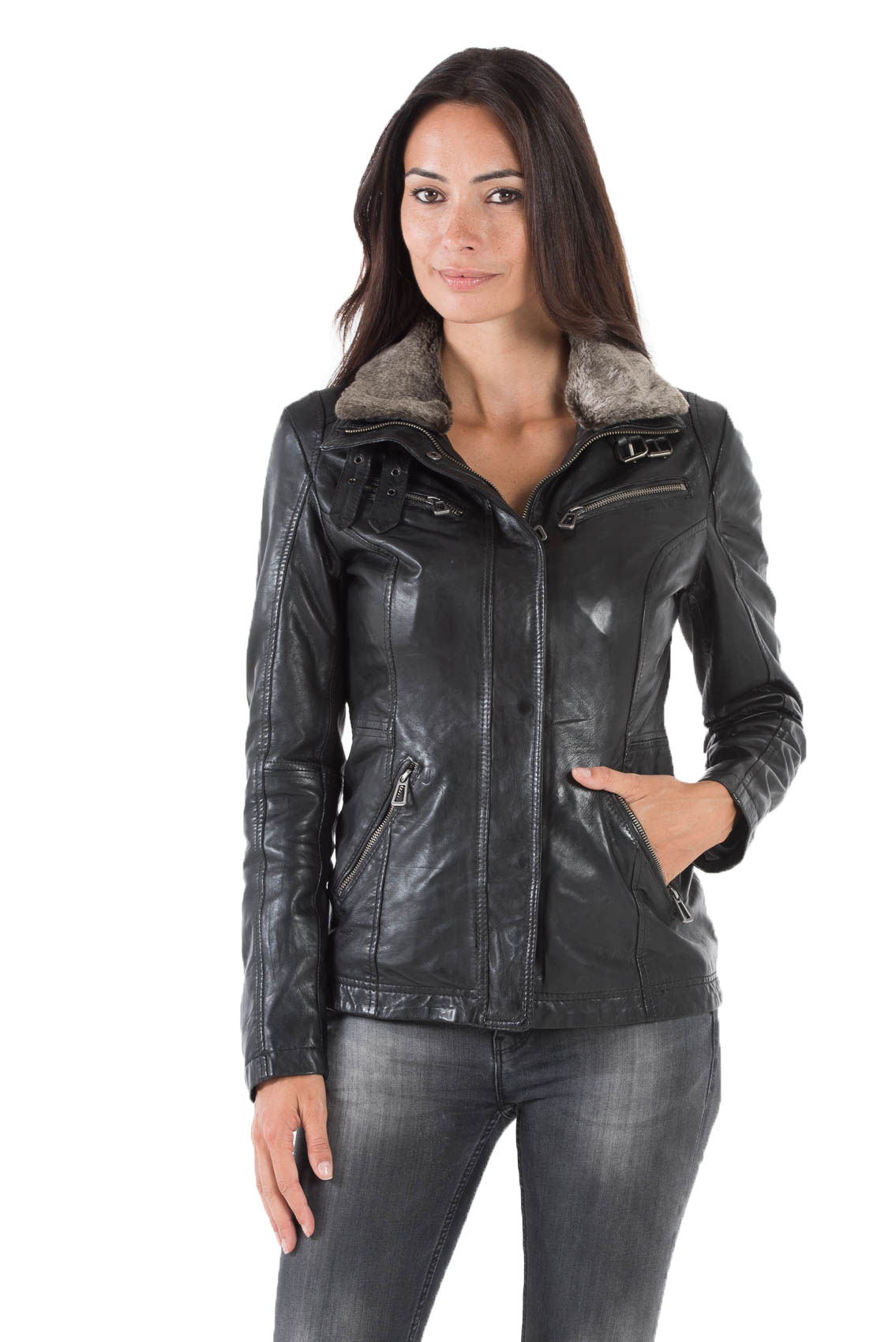 discount more photos best sneakers Veste cuir femme noir col fourrure