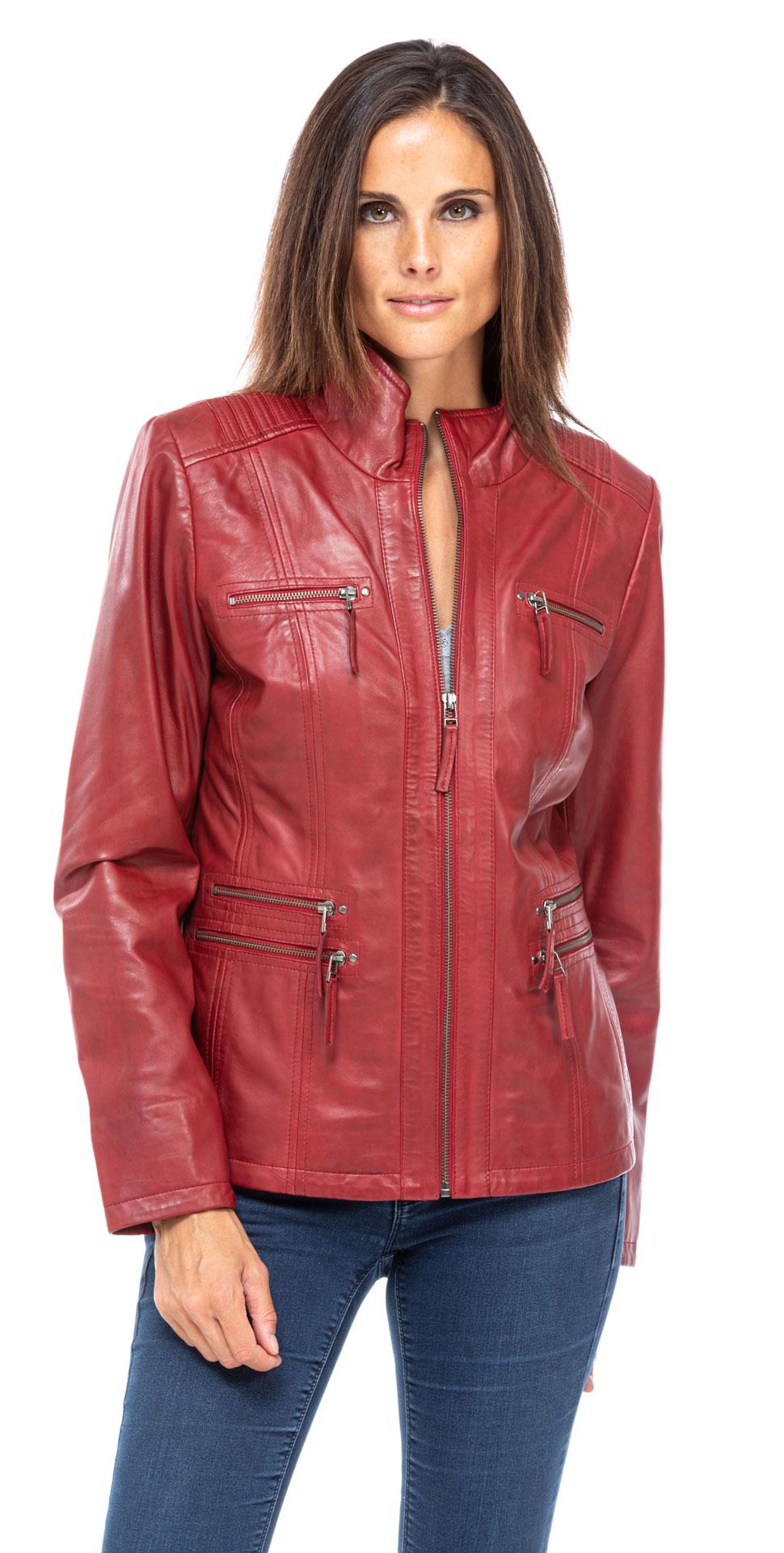 Rote Damen Lederjacke Teija