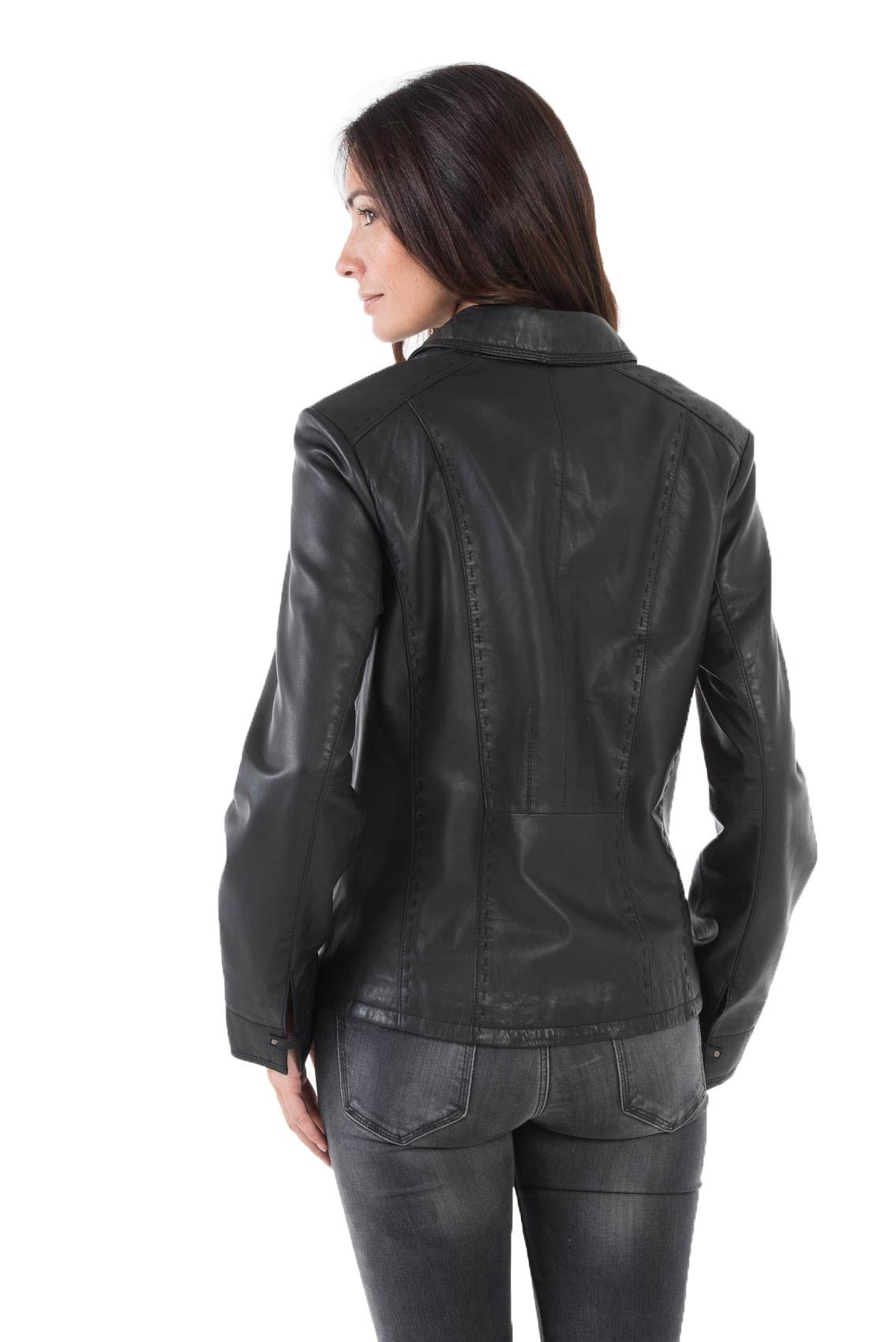 Veste en cuir cintree femme