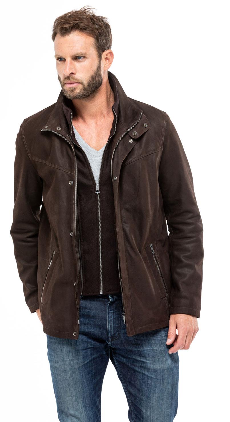 Veste demi longueur en nubuck marron pour homme