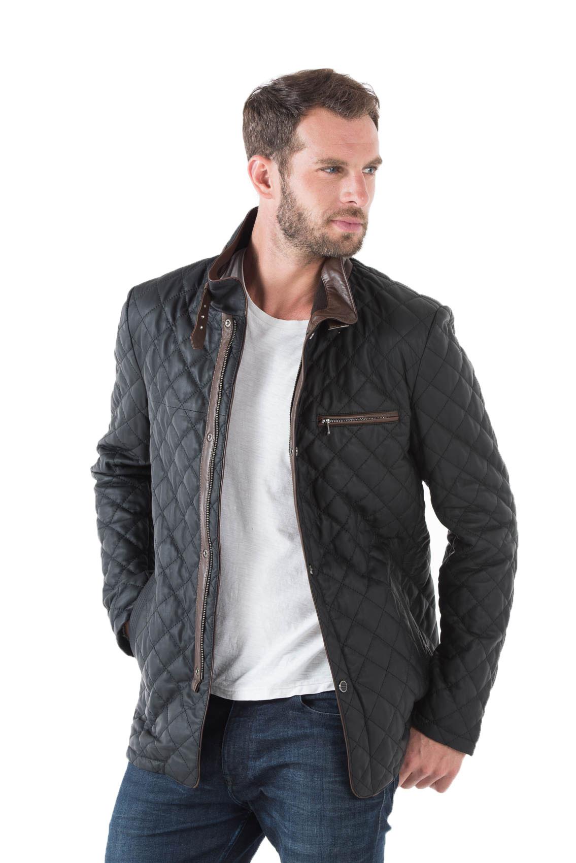 Cuir Noir Damier Moderne Veste Surpiqures E Homme Blazer 09 Style Y7bfy6g