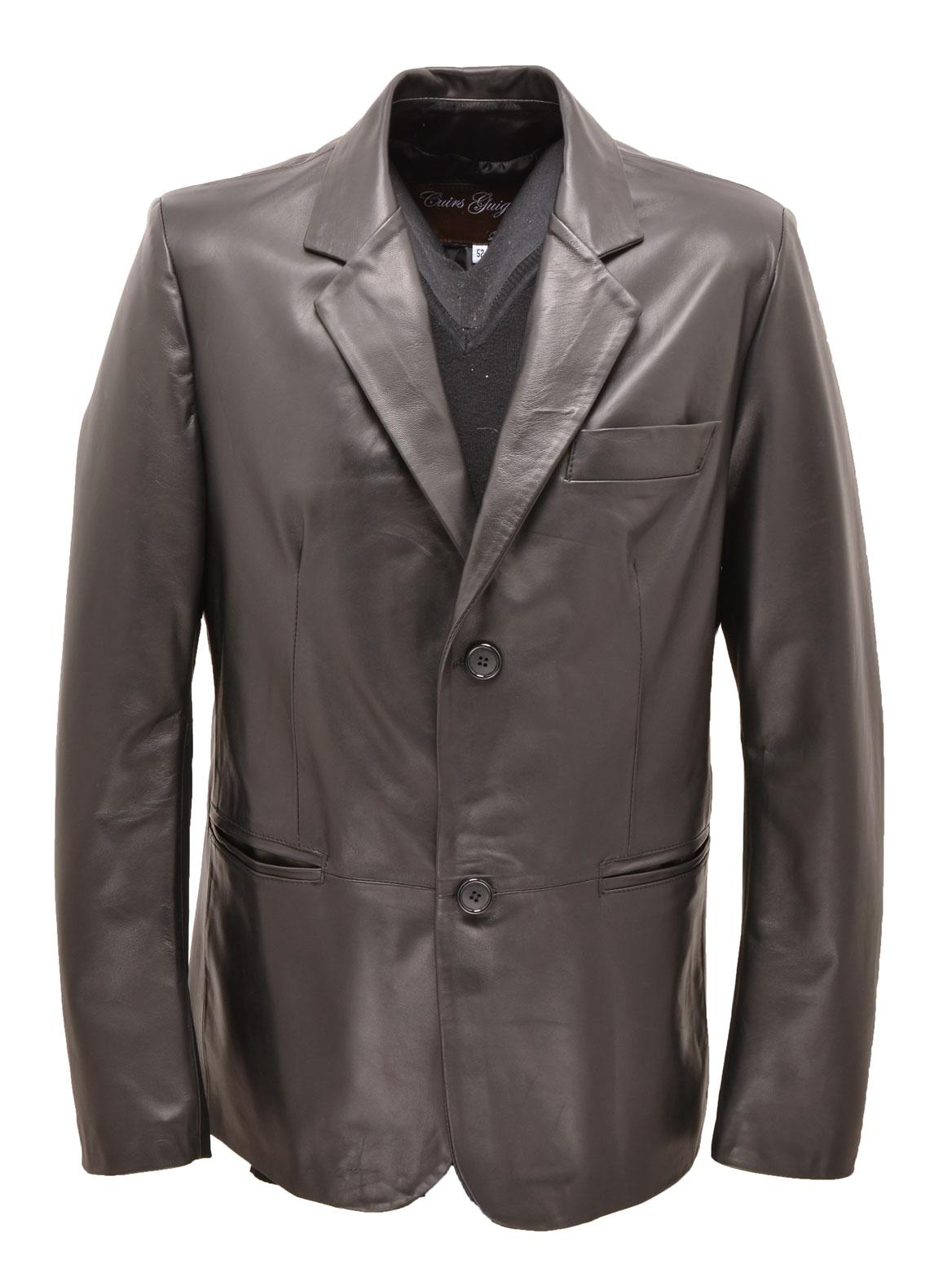 best authentic 0a593 e560b Giacca classica uomo in pelle nera aramis 2