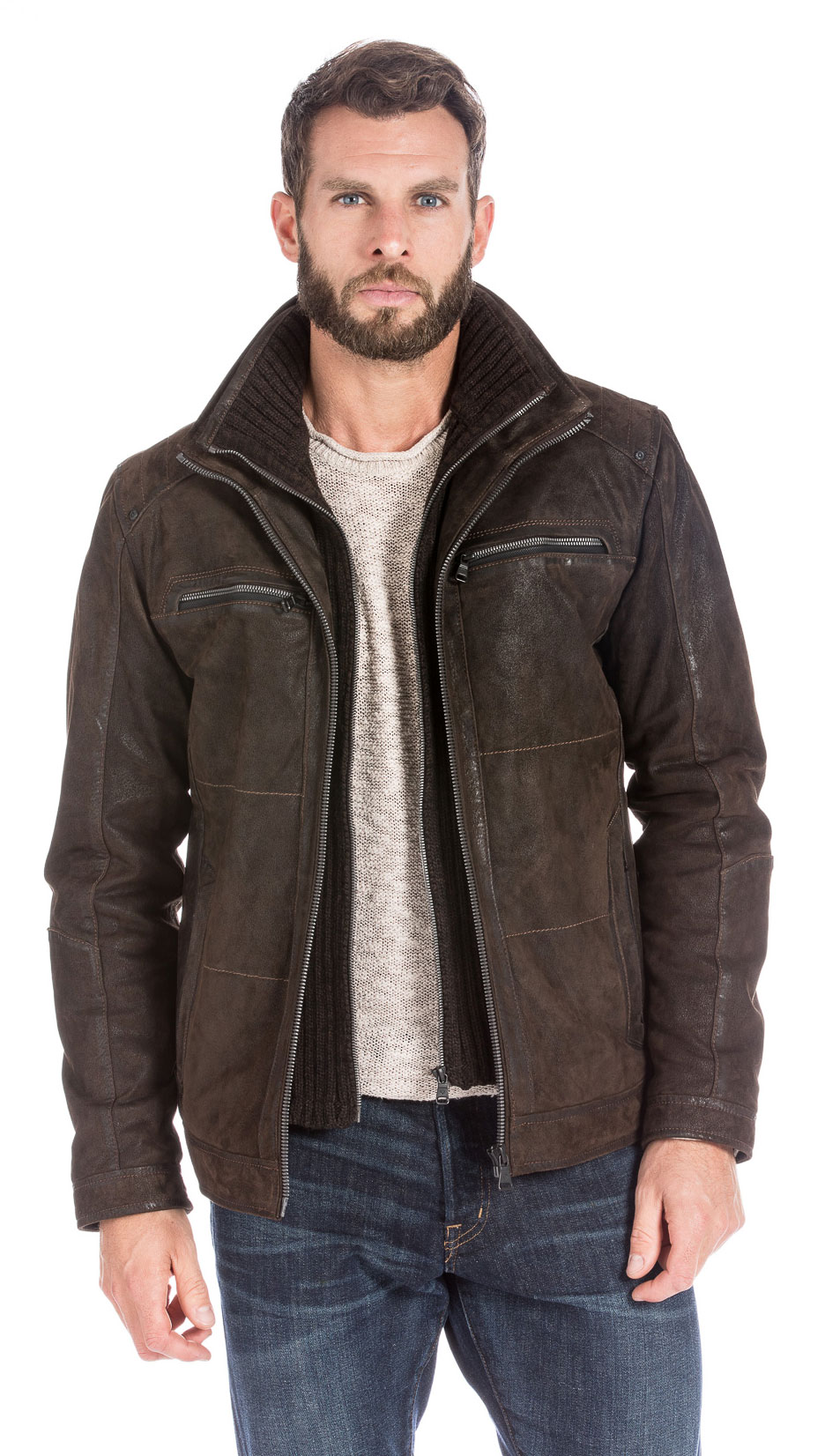 best authentic 31b0b 83654 Giacca in pelle uomo marrone