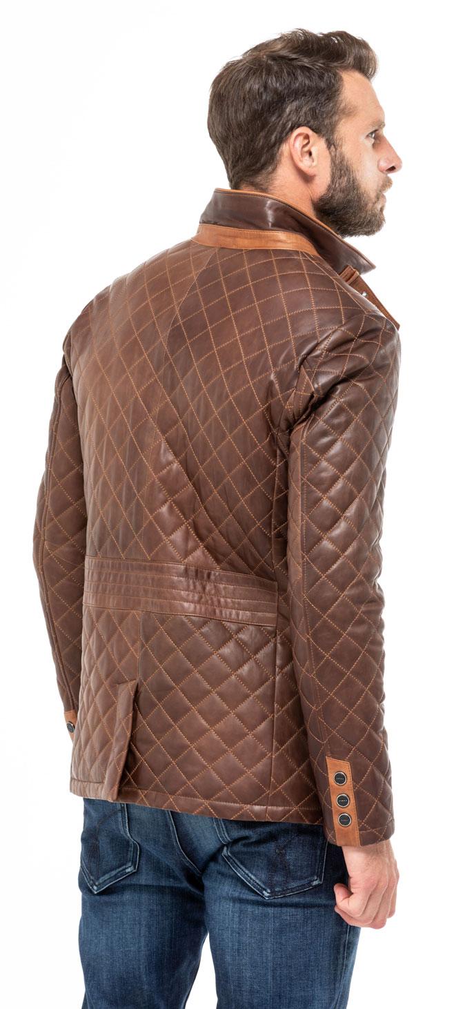Manteaux cuir en cuir agneau ref MODESA yag16 marron marron